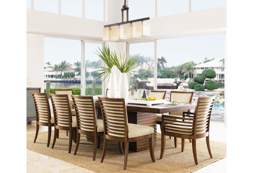 Tommy Bahama Home Ocean Club 11 Piece Peninsula Dining Table ...