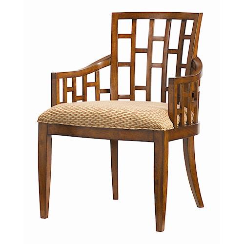 Tommy Bahama Home Ocean Club <b>Customizable</b> Lanai Arm Chair with Geometric Pattern