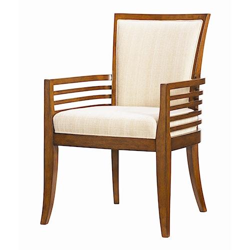 Tommy Bahama Home Ocean Club <b>Customizable</b> Kowloon Arm Chair with Horizontal Slats