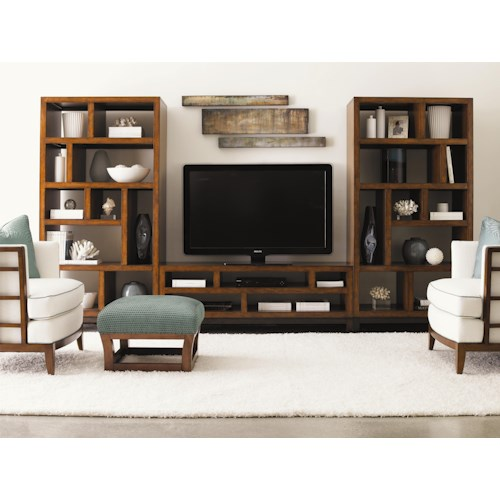 Tommy Bahama Home Ocean Club Pacifica Entertainment Console & Two Tradewinds Bookcases/Etegeres Wall Unit
