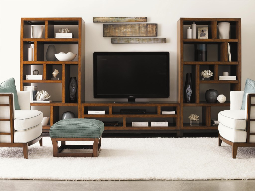 Shown with Two Tradewinds Bookcases/Etegeres, Fusion Ottoman, and Abaco Chairs
