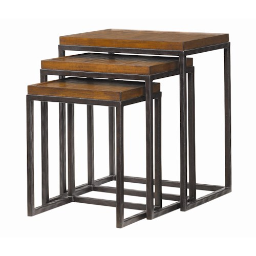 Tommy Bahama Home Ocean Club Crushed Bamboo & Distressed Metal Ocean Reef Nesting Tables