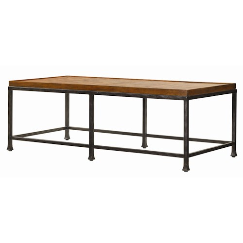 Tommy Bahama Home Ocean Club Crushed Bamboo & Distressed Metal Ocean Reef Cocktail Table