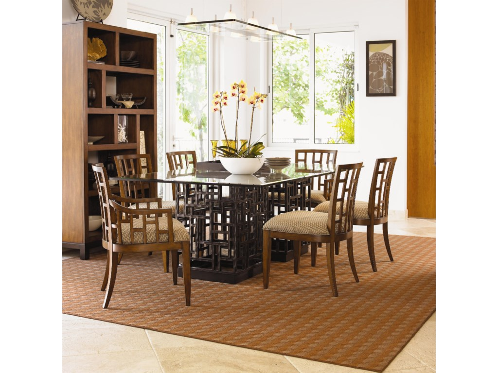 Shown with Lanai Side and Arm Chairs and South Sea Rectangular Glass Top Table