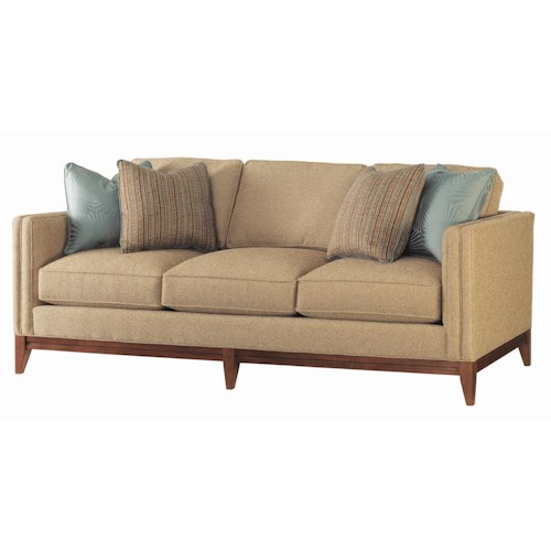 Tommy Bahama Home Ocean Club Ladera Sofa with Exposed Wood Base & Legs