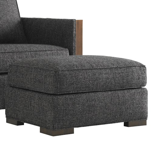 Lexington Tower Place Contemporary Edgemere Ottoman with Wood Block Legs