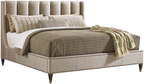 Lexington Tower Place King Barrington Upholstered Bed with Nailheads and Tapered Wood Legs