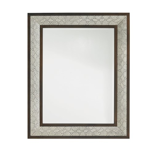 Lexington Tower Place Embossed Leather Python Mirror with Walnut Frame