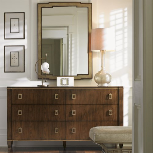 Lexington Tower Place Contemporary Madison Dresser and Glencoe Mirror with Gold Leaf Trim
