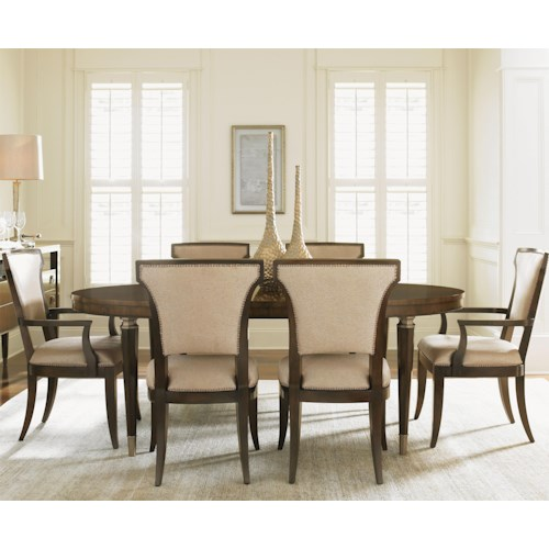 Lexington Tower Place 7 Piece Formal Dining Set with Drake Table and Seneca Married Fabric Chairs