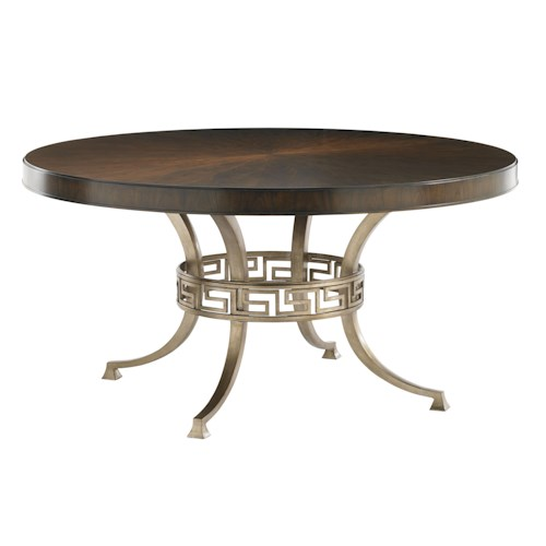 Lexington Tower Place Contemporary Regis Round Dining Table with Gold Metal Base and Greek Key Stretcher