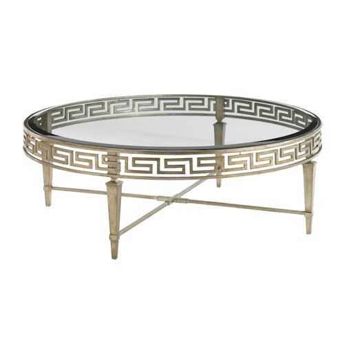 Lexington Tower Place Contemporary Deerfield Round Cocktail Table with Greek Key Motif