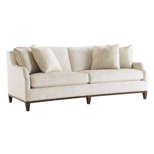 Lexington Tower Place Contemporary Conrad Conversation Sofa with Exposed Wood Base