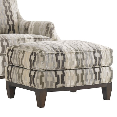 Lexington Tower Place Contemproary Conrad Ottoman with Ultra Down Cushion and Exposed Wood Trim