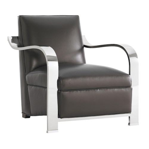 Lexington Tower Place Contemporary Kenilworth Chair with Sculptural Stainless Steel Arms