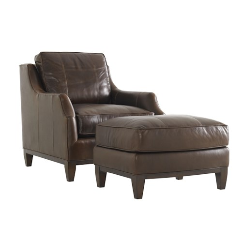 Lexington Tower Place Conrad Chair and Ottoman with Exposed Wood Trim