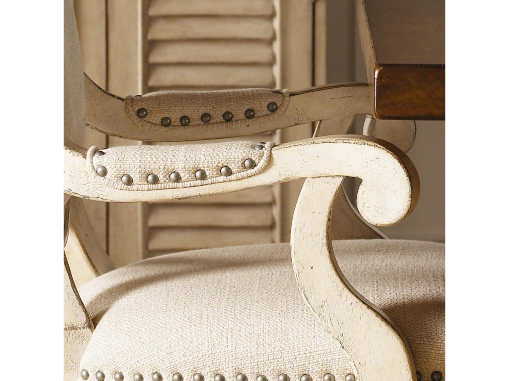 A Pewter Nail Head Trim on the Arm Pad of the Byerly Arm Chair Adds Whimsical Design