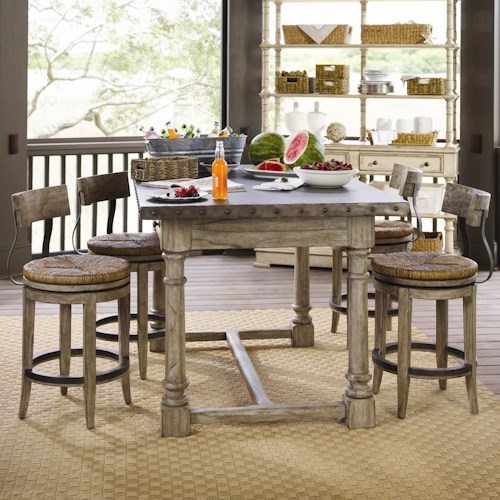Lexington Twilight Bay 5 Piece Shelter Island Bistro Table & Dalton ...
