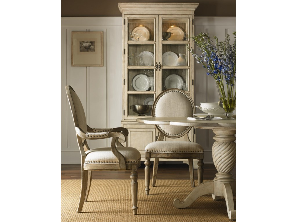 Shown with Barrett Dining Table in Antique Linen Finish, and Pierpoint Display Cabinet in Antique Linen/Driftwood Finish