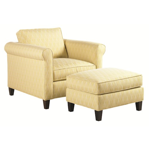 Lexington Urban Spaces - Conran Transitional Chair and Ottoman with Tapered Wood Legs