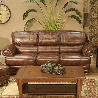 LG Interiors Cowboy Transitional Warm Brown Leather Sofa With Nailhead Trim