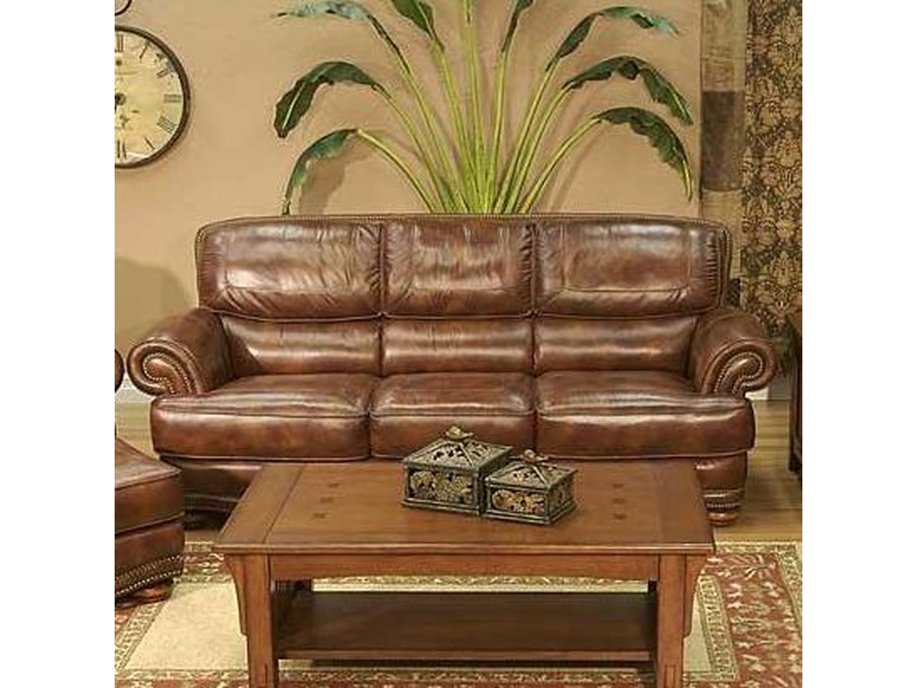 Cowboy Transitional Warm Brown Leather Sofa with Nailhead Trim by LG  Interiors at Virginia Furniture Market