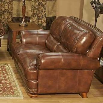 Lovely LG Interiors Cowboy Traditional Warm Brown Leather Loveseat With Nailhead  Trim