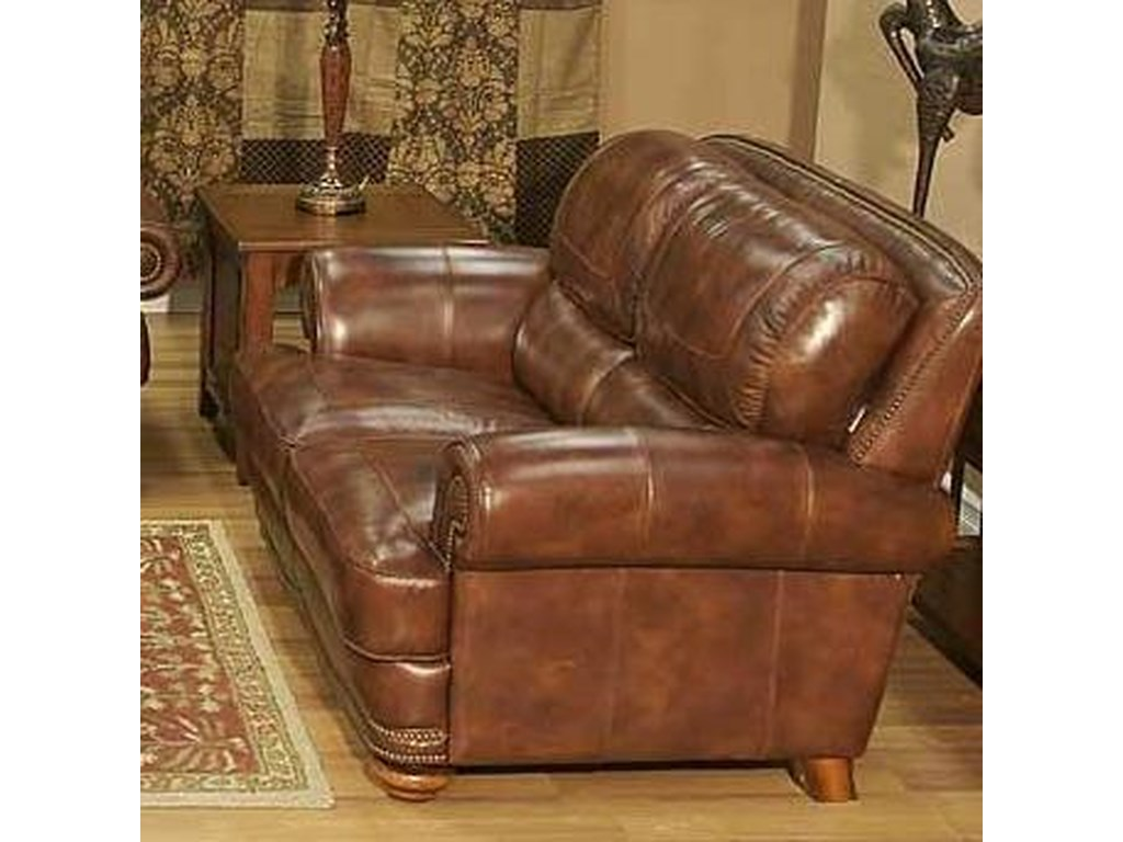 Cowboy Traditional Warm Brown Leather Loveseat with Nailhead Trim by LG  Interiors at Virginia Furniture Market