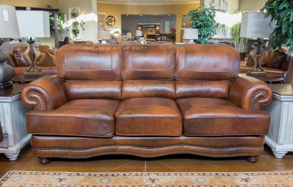 Lg Interiors Cowboy D6266 01 04234 Cowboy Leather Sofa Great  ~ Brown Leather Sofa With Studs