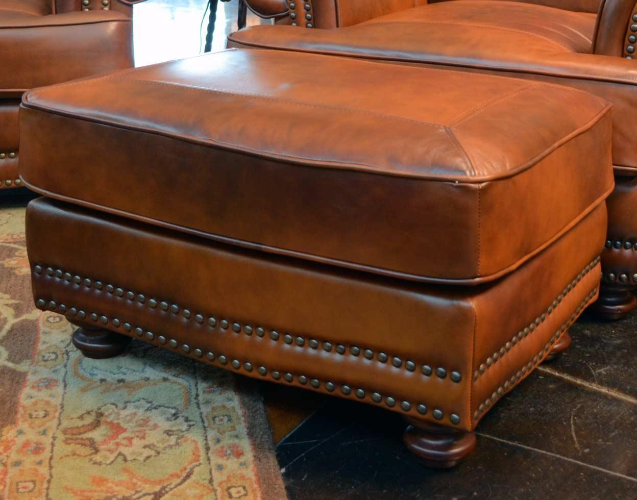 LG Interiors Cowboy Cowboy Leather Ottoman   Great American Home Store    Ottomans