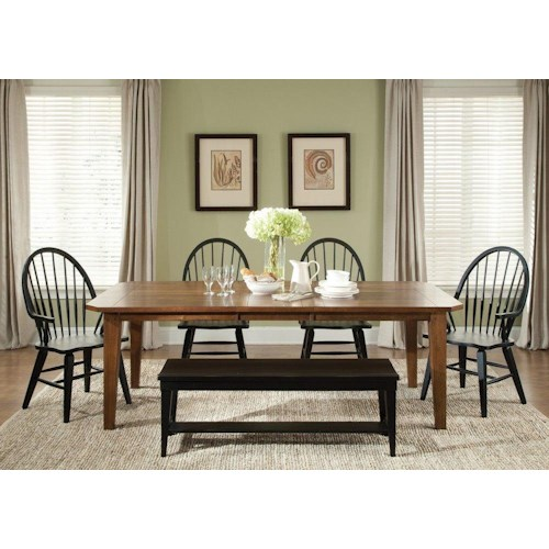 Liberty Furniture Bunker Hill 6PC Dining Set w/ Bench Seat
