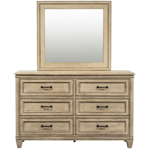 Liberty Furniture 573 Transitional 6 Drawer Dresser & Beveled Glass Mirror