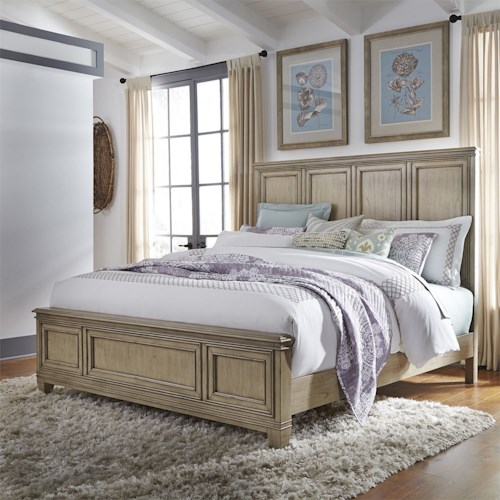 Liberty Furniture 573 Transitional Queen Panel Bed with Crown Molding
