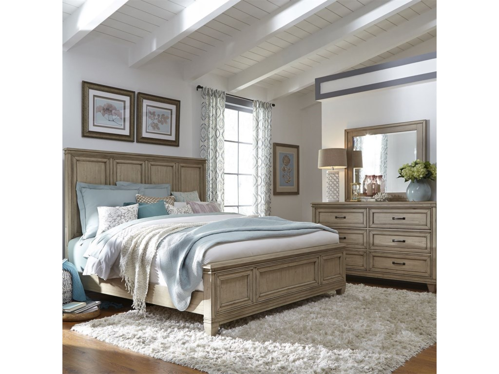 Vendor 5349 573Queen Panel Bed, Dresser & Mirror