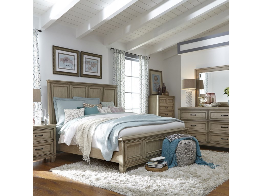 Liberty Furniture 573Queen Panel Bed, Dresser & Mirror, Chest, N/