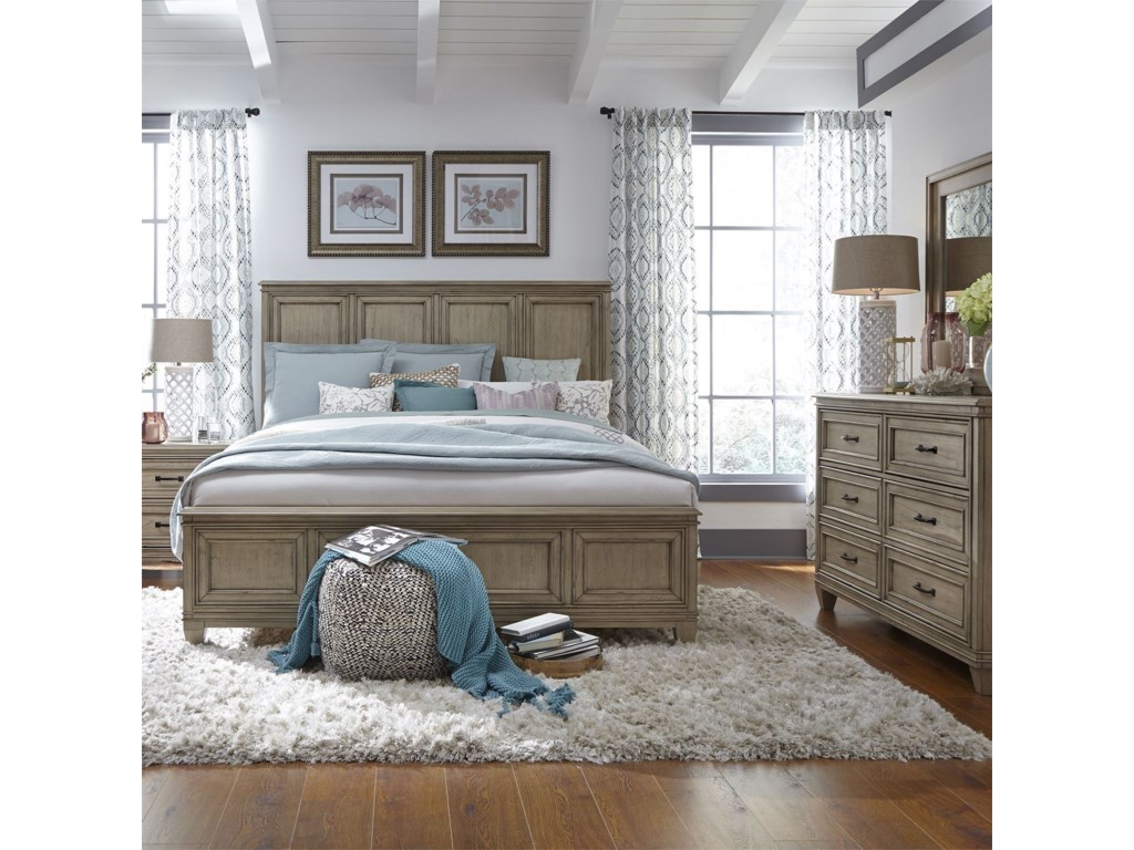 Liberty Furniture 573Queen Panel Bed, Dresser & Mirror, N/S
