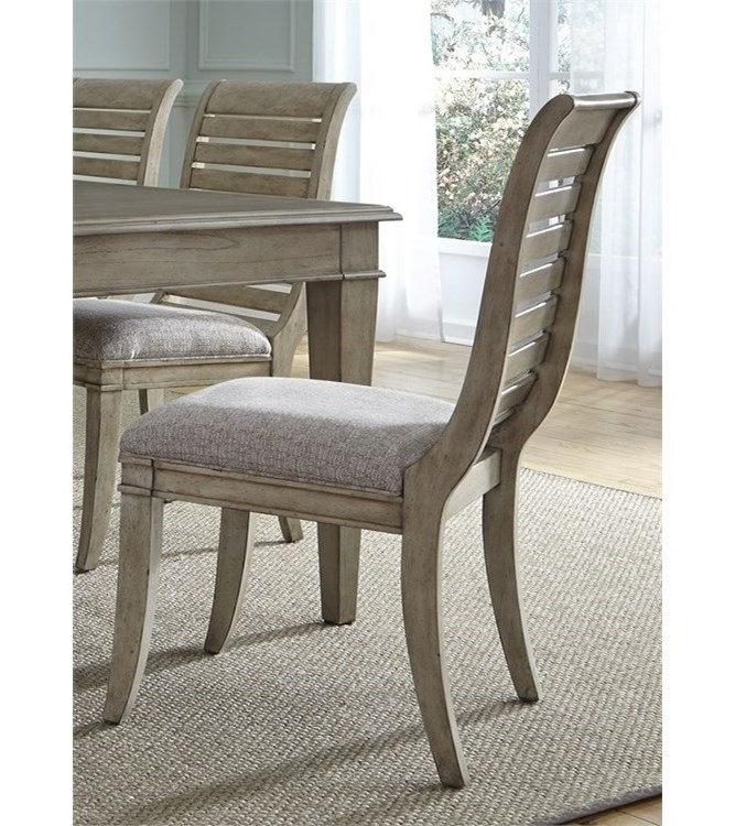 Vendor 5349 573Slat Back Side Chair with Upholstered Seat