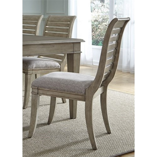 Liberty Furniture 573 Slat Back Side Chair with Upholstered Seat