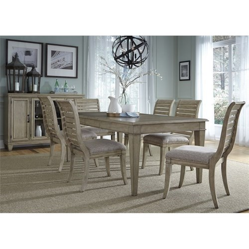 Liberty Furniture 573 7 Piece Rectangular Table Set with Slat Back Side Chairs