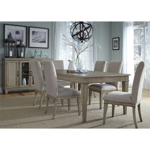 Liberty Furniture 573 7 Piece Rectangular Table Set with Upholstered Side Chairs