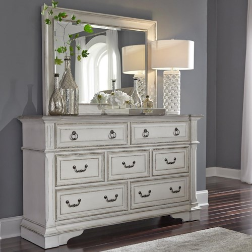 Liberty Furniture Abbey Park Traditional 7 Drawer Dresser with Felt Lined Top Drawers and Mirror