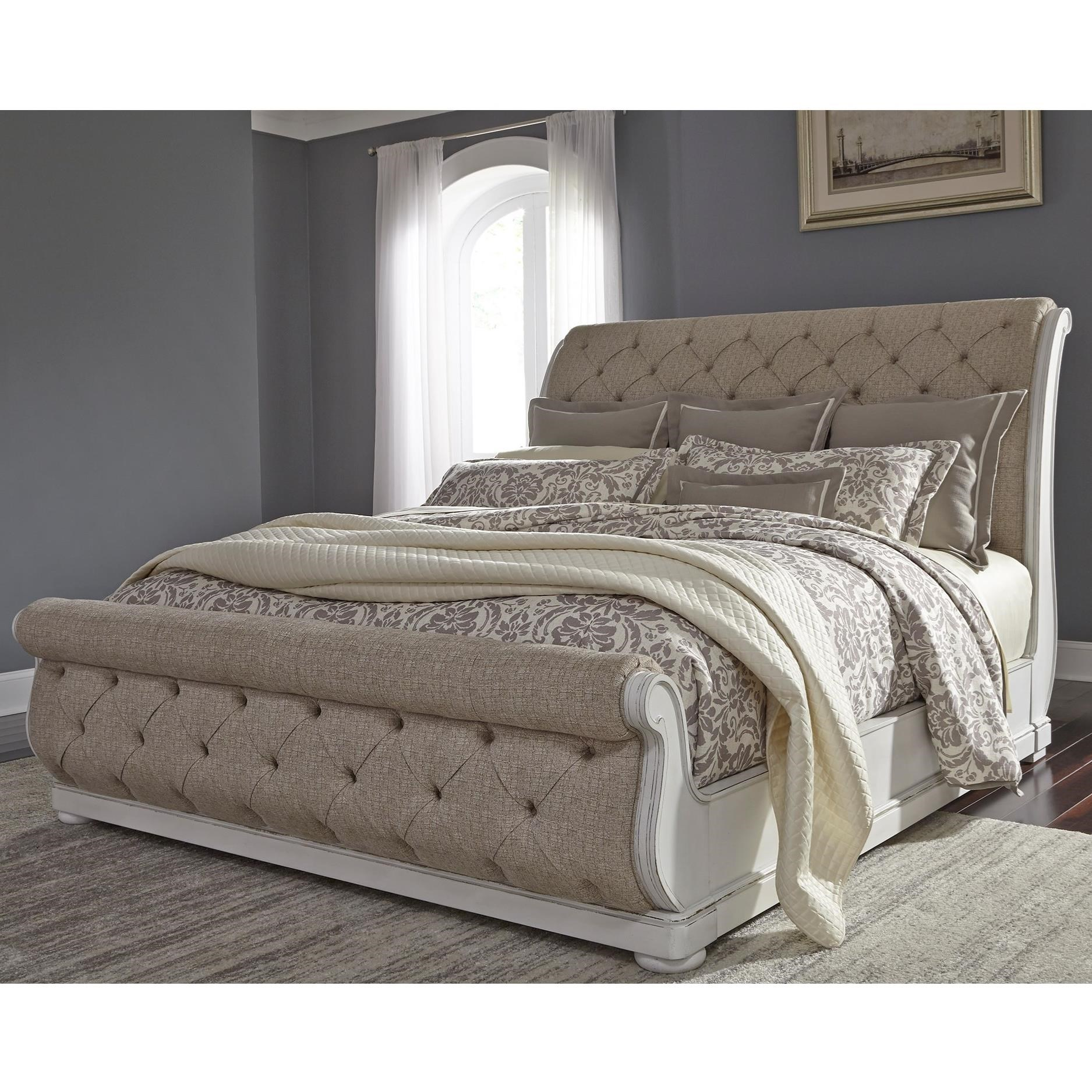 Traditional Upholstered King Sleigh Bed