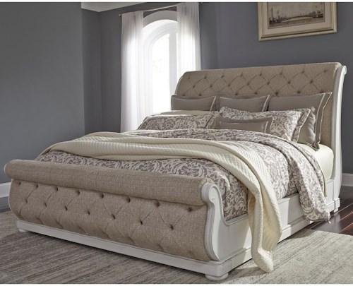 Liberty Furniture Abbey Park Traditional Upholstered King Sleigh Bed