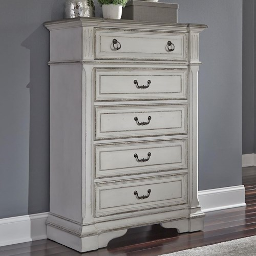 Liberty Furniture Abbey Park Traditional 5 Drawer Chest of Drawers with Felt Lined Top Drawer