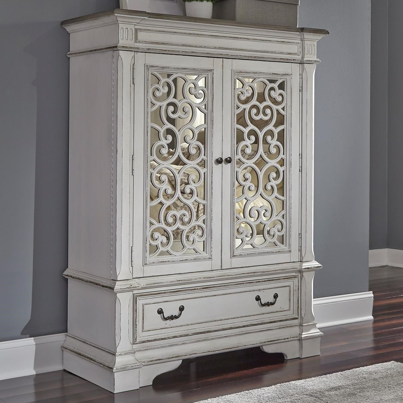 Liberty Furniture Abbey Park Traditional 2 Door 1 Drawer Chest With Mirror  Panel Door Fronts