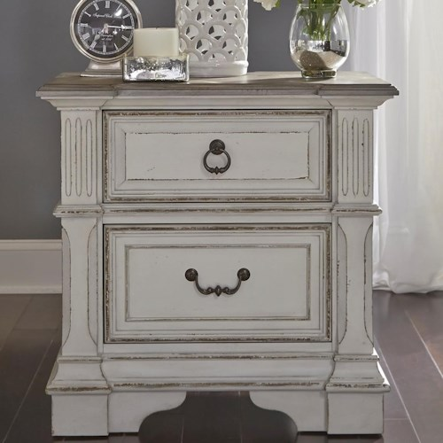Liberty Furniture Abbey Park Traditional 2 Drawer Nightstand with Built In Charging Station