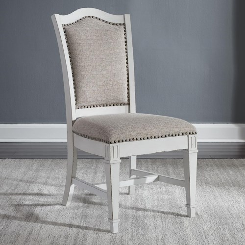 Liberty Furniture Abbey Park Traditional Upholstered Side Chair with Nail Head Trim