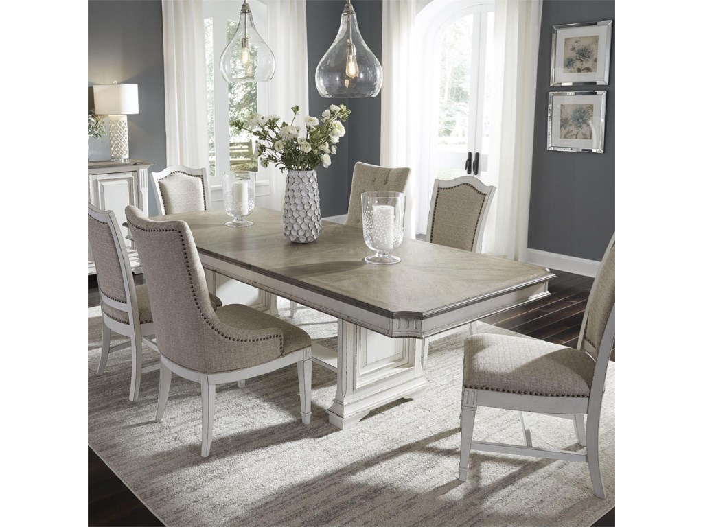 Vendor 5349 Abbey Park7 Piece Trestle Table Set