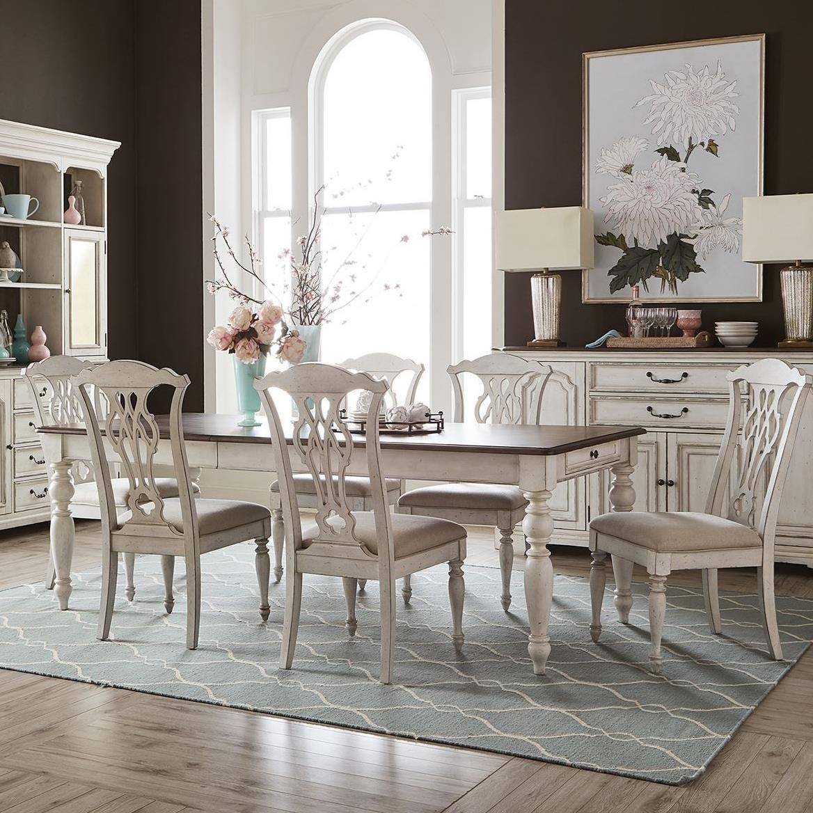 Traditional 7-Piece Rectangular Table Set with Storage and Splat Back Chairs