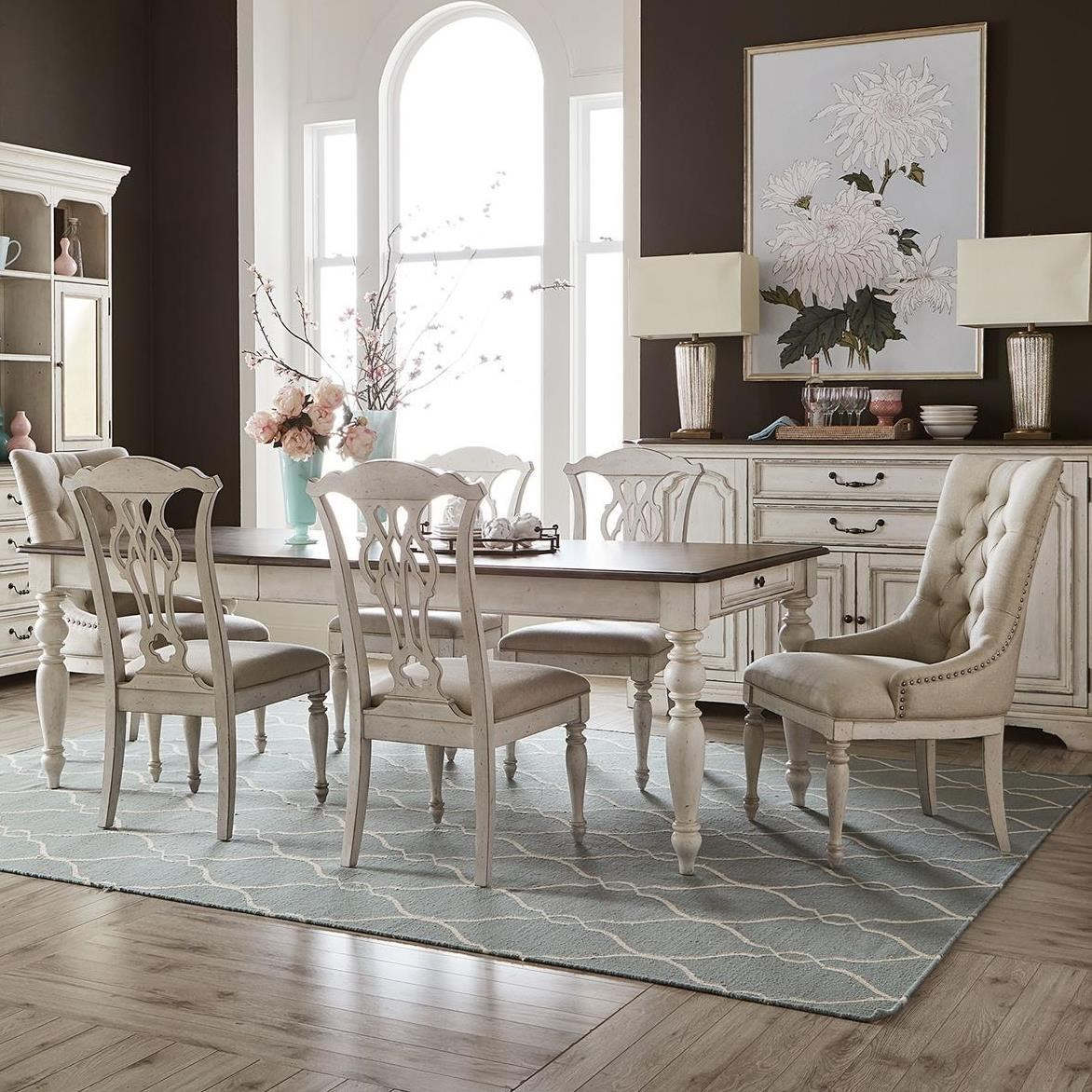 Traditional 7-Piece Rectangular Table Set with Storage, Splat Back & Tufted Chairs